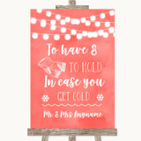 Coral Watercolour Lights Wedding Blanket Scarf Customised Wedding Sign