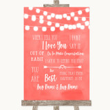 Coral Watercolour Lights When I Tell You I Love You Customised Wedding Sign
