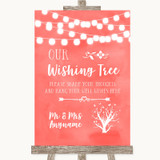Coral Watercolour Lights Wishing Tree Customised Wedding Sign