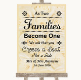 Cream Roses As Families Become One Seating Plan Customised Wedding Sign