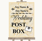 Cream Roses Card Post Box Customised Wedding Sign