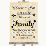 Cream Roses Choose A Seat We Are All Family Customised Wedding Sign