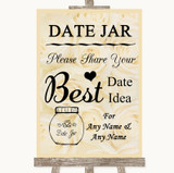 Cream Roses Date Jar Guestbook Customised Wedding Sign