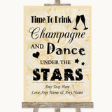 Cream Roses Drink Champagne Dance Stars Customised Wedding Sign