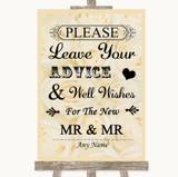 Cream Roses Guestbook Advice & Wishes Gay Customised Wedding Sign