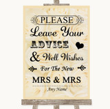 Cream Roses Guestbook Advice & Wishes Lesbian Customised Wedding Sign