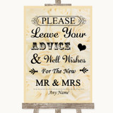 Cream Roses Guestbook Advice & Wishes Mr & Mrs Customised Wedding Sign