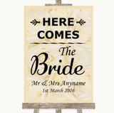 Cream Roses Here Comes Bride Aisle Sign Customised Wedding Sign