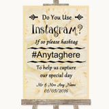 Cream Roses Instagram Photo Sharing Customised Wedding Sign