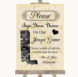 Cream Roses Jenga Guest Book Customised Wedding Sign