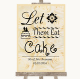Cream Roses Let Them Eat Cake Customised Wedding Sign