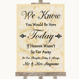 Cream Roses Loved Ones In Heaven Customised Wedding Sign
