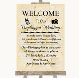 Cream Roses No Phone Camera Unplugged Customised Wedding Sign