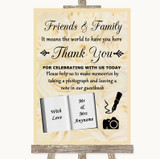 Cream Roses Photo Guestbook Friends & Family Customised Wedding Sign
