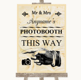 Cream Roses Photobooth This Way Left Customised Wedding Sign