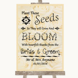 Cream Roses Plant Seeds Favours Customised Wedding Sign