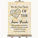Cream Roses Puzzle Piece Guest Book Customised Wedding Sign