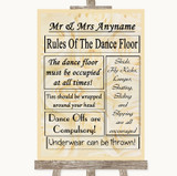 Cream Roses Rules Of The Dancefloor Customised Wedding Sign