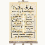 Cream Roses Rules Of The Wedding Customised Wedding Sign