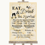 Cream Roses Signature Favourite Drinks Customised Wedding Sign