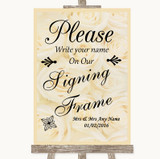 Cream Roses Signing Frame Guestbook Customised Wedding Sign