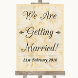 Cream Roses We Are Getting Married Customised Wedding Sign