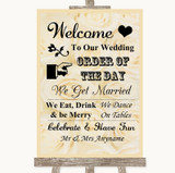 Cream Roses Welcome Order Of The Day Customised Wedding Sign