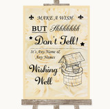 Cream Roses Wishing Well Message Customised Wedding Sign