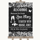 Dark Grey Burlap & Lace Alcohol Bar Love Story Customised Wedding Sign
