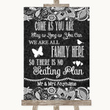 Dark Grey Burlap & Lace All Family No Seating Plan Customised Wedding Sign