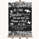 Dark Grey Burlap & Lace As Families Become One Seating Plan Wedding Sign