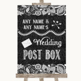 Dark Grey Burlap & Lace Card Post Box Customised Wedding Sign