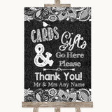 Dark Grey Burlap & Lace Cards & Gifts Table Customised Wedding Sign