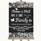 Dark Grey Burlap & Lace Choose A Seat We Are All Family Wedding Sign