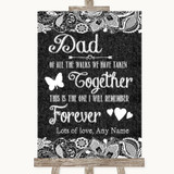 Dark Grey Burlap & Lace Dad Walk Down The Aisle Customised Wedding Sign