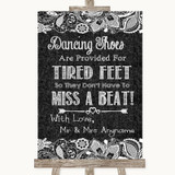 Dark Grey Burlap & Lace Dancing Shoes Flip-Flop Tired Feet Wedding Sign