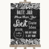 Dark Grey Burlap & Lace Date Jar Guestbook Customised Wedding Sign