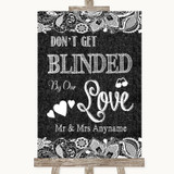 Dark Grey Burlap & Lace Don't Be Blinded Sunglasses Customised Wedding Sign