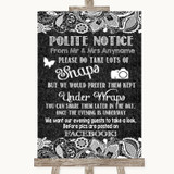 Dark Grey Burlap & Lace Don't Post Photos Facebook Customised Wedding Sign