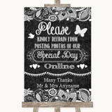 Dark Grey Burlap & Lace Don't Post Photos Online Social Media Wedding Sign