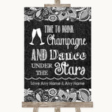 Dark Grey Burlap & Lace Drink Champagne Dance Stars Customised Wedding Sign