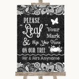 Dark Grey Burlap & Lace Fingerprint Tree Instructions Customised Wedding Sign