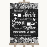 Dark Grey Burlap & Lace Friends Of The Bride Groom Seating Wedding Sign
