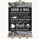 Dark Grey Burlap & Lace Grab A Bag Candy Buffet Cart Sweets Wedding Sign