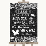 Dark Grey Burlap & Lace Guestbook Advice & Wishes Mr & Mrs Wedding Sign
