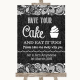 Dark Grey Burlap & Lace Have Your Cake & Eat It Too Customised Wedding Sign