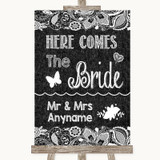 Dark Grey Burlap & Lace Here Comes Bride Aisle Sign Customised Wedding Sign