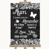 Dark Grey Burlap & Lace I Love You Message For Mum Customised Wedding Sign