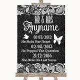 Dark Grey Burlap & Lace Important Special Dates Customised Wedding Sign