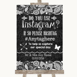 Dark Grey Burlap & Lace Instagram Photo Sharing Customised Wedding Sign